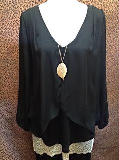 Kay Celine - Black chiffon blouse - $92