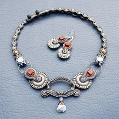 Soutache jewelry set with beaded ring and Swarovski crystals.