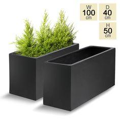 Polystone Black Trough Planter - Set of 2 Decorative Planters, Large Planters, Rectangular Planter Box, Plant Box, Plant Stands, Trough Planters, Front Gardens, Rain Barrel, Planter Boxes
