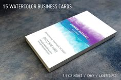 15 Watercolor Business Cards by cesgra on @creativemarket