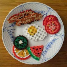Breakfast hama perler beads by zita_falk - Perles à repasser… Perler Bead Designs, Easy Perler Bead Patterns, Melty Bead Patterns, Hama Beads Design, Diy Perler Beads, Perler Bead Art, Pearler Beads, Fuse Beads, Beading Patterns