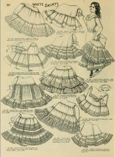 "Vintage fashion illustration of Ladies' skirts from: ""Spring & summer fashion catalogue. O'Neill & Co, New York, This image is in the public domain. 1890s Fashion, Edwardian Fashion, Vintage Fashion, Vintage Underwear, Vintage Lingerie, Historical Costume, Historical Clothing, Victorian Costume, Photocollage"