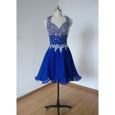 Cheap Beaded Straps Royal Blue Chiffon Short Homecoming Dress Prom... ($99) ❤ liked on Polyvore featuring dresses, black, women's clothing, short black dresses, black beaded cocktail dress, beaded cocktail dress, black cocktail dresses and graduation dresses
