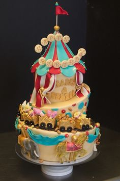 elaborate child's birthday cake with circus theme. Studio Cake Design out of Menlo Park, California.