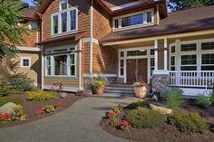 Choice Construction, Remodel, Custom Homes, Gig Harbor, Front Entry, Curb Appeal, Landscaping, Wood Siding, Front Porch