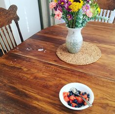 """I came downstairs after finishing my morning Periscope show to find this waiting for me. Silas looked up from his schoolwork and said really sweetly, """"I made that fruit for you, Mom!"""" In that moment, I wasn't noticing the spilled milk or the laundry that still needed to be finished or the yogurt container that someone had forgotten to put away or the mess in the middle of the living room..."""