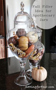 I love apothecary jars!  I have several in my home; in my kitchen and in my bathroom.  It's so much fun to decorate them for the seasons and holidays!   With Fall already here and Halloween fast approaching, here are some fantastic apothecary jar filler ideas to decorate your home with seasonal fun: Glass vessels filled …