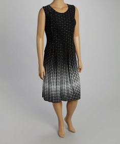 Look what I found on #zulily! Black & White Gradient Pleated Sleeveless Dress - Plus by Glamour #zulilyfinds
