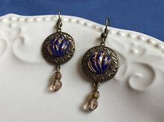 Confetti  Purplish Blue Vintage Glass Button Earrings with