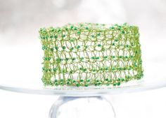 Crocheted Wire Bracelet Cuff Chartreuse Green Beads by beadedwire