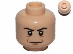 Lego New Medium Dark Flesh Minifig Head Black Eyebrows Reddish Cheek Lines