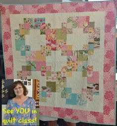 CLASS NEWS: This Saturday August 3rd from 10:00am 'til 1:00pm its the debut of... 'Fun & Easy BIG Block Quilts with Kathy' Yes the same Kathy Cooper that teaches the tiny pieced quilts in our Jo's Little Women Club & is our reproduction quilt queen is going to be using her masterful teaching techniques to help YOU make easy, fun quilts like this one... Great as a baby or lap quilt... All the quilts in this class will be precut friendly!