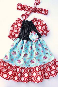 OOAK....Blue Bird dress and sash...Momi boutique