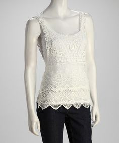 Take a look at this Cream Crocheted Top by Papillon Imports on #zulily today!
