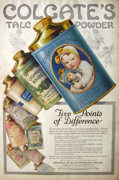 Talc Powder Ad ~ Beautiful Packaging Colgate Baby Talc ad 1910 - Vintage Retro Advertisement Ad Art Poster Print Postcard ☮~ღ~*~*✿⊱ レ o √ 乇 ! ~Colgate Baby Talc ad 1910 - Vintage Retro Advertisement Ad Art Poster Print Postcard ☮~ღ~*~*✿⊱ レ o √ 乇 ! Old Poster, Poster Retro, Posters Vintage, Poster Ads, Vintage Prints, Poster Prints, Retro Print, Pub Vintage, Vintage Labels