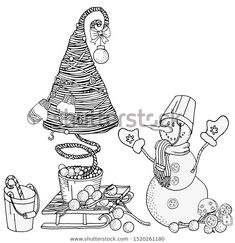 Find Cheerful Snowman Christmas Tree Winter Snow stock images in HD and millions of other royalty-free stock photos, illustrations and vectors in the Shutterstock collection. Zen Art, Coloring Book Pages, Christmas Snowman, Winter Snow, Christmas And New Year, Zentangle, Create Yourself, Cheer, Christmas Decorations