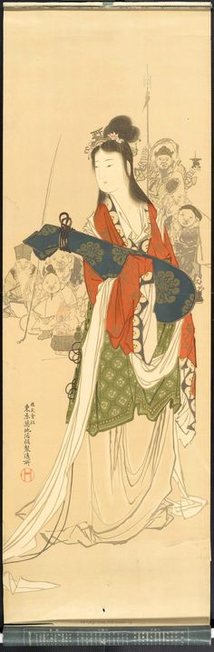 Taishō era Japanese poster depicting a goddess holding a musical instrument. Advertisement for Tokyo Tsukiji Type Foundry.