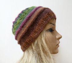 Hand Knitted Wool Headband, Brown Green Pink 100% Wool Knitted Ear Warmer…