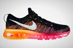 The 30 Most Colorful Running Sneakers EVER! via Brit + Co.  Nike Flyknit Air Max ($225): Okay Nike, these sneakers are out of this world! We are all about the combination of orange to pink ombré against black.