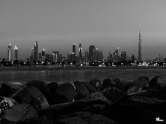 """Dubai City skyline at night in 2012. Jumeirah literally means """"beautiful."""" It is a coastal residential area in Dubai, United Arab Emirates mainly comprising low rise private dwellings. #dubai"""
