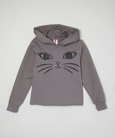 Look what I found on #zulily! Matte Gray Cat Eyes Crop Hoodie - Girls #zulilyfinds