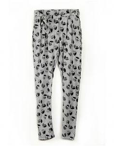Pantalon en Soie Gris Métallique Imprimé Nymphéa par Maison Martin Morel