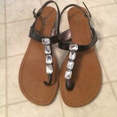 Candies jeweled sandals Womens 7.5 in good condition. Minor signs of wear as they have only been worn a handful of times. Super cute! Candies Shoes Sandals