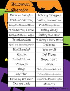 This free printable Halloween game of Halloween Charades is a cheap and easy way to entertain the kids this Halloween. Great for Halloween parties. games at work Halloween Charades: Printable Halloween Game - The Joys of Boys