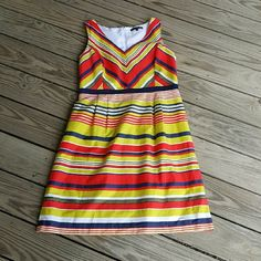 Bright stripe dress 21 bust 40 length.  Size 14.  100% cotton 100% poly fully lined.  All measurements are approximate Preston & York Dresses