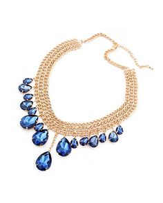Sapphire Blue Drop Gemstone Multi-Row Collar Necklace AC0020141-1 Jewelry Box, Jewelry Accessories, Jewellery, Collar Necklace, Daily Fashion, Fashion Necklace, Blue Sapphire, Giveaways, Classic Style