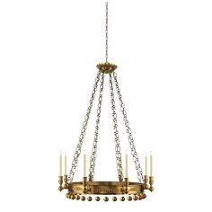 Hand-Rubbed Antique Brass:  JOHN ROSSELLI NATALYA SMALL CHANDELIER FOR VISUAL COMFORT AND SOLD AT CIRCA LIGHTING.