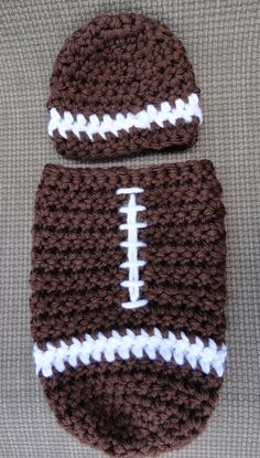 This adorable football cocoon will melt any football fans heart! This cocoon would make a great photography prop or baby shower gift, especially for Crochet Photography Props, Crochet Photo Props, Crochet Baby Cocoon, Crochet Baby Clothes, Crochet For Boys, Free Crochet, Hat Crochet, Crochet Crafts, Crochet Projects