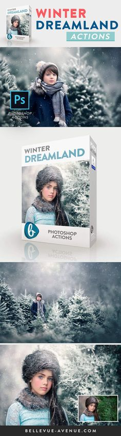 Create gorgeous Winterscapes with the Winter Dreamland Actions from Bellevue Avenue | https://bellevue-avenue.com/products/winter-dreamland-photoshop-actions