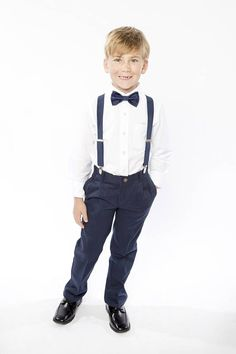 Navy Bow Tie & Navy Suspenders with Navy Pocket Square -- Ring Bearer Outfit -- Groomsmen Bow Tie Suspenders Navy Blue Suspenders, Navy Blue Bow Tie, Bowtie And Suspenders, Navy Suits, Ring Bearer Outfit, Shiny Fabric, Boys Bow Ties, Square Rings, Wedding Men