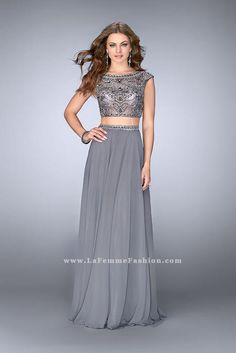 75cb4fcb694 La Femme 24493 Beaded Gunmetal Long Two Piece Prom Dress 2017