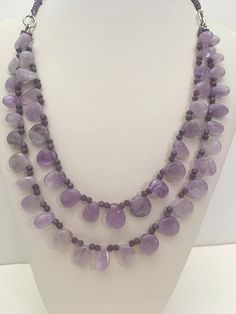 Lovely Lavender doble strand necklace with amethyst nuggets and glass bocones. Necklace is long. Will be sent in a nice box. Thanks for visiting my shop. Rustic Wedding Jewelry, Mother Of The Bride Jewelry, Wedding Planning Timeline, Amethyst Necklace, Strand Necklace, Summer Wedding, Lavender, Girly, Romantic