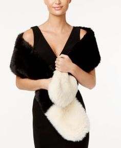 Inc International Concepts Colorblocked Faux-Fur Scarf, Only at Macy's - Black
