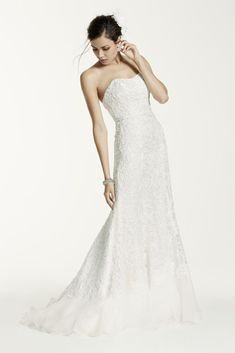 Lace Overlay Charmeuse Wedding Dress with Train - Soft White, 16