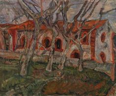 Chaim Soutine Russian, active in France, 1893–1943 Red Church (L'Église rouge)  c. 1919 Oil on canvas 23 3/4 x 29 in. (60.3 x 73.7 cm)