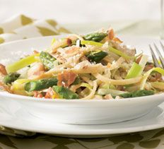 Linguini with Asparagus, White Beans and Crispy Prosciutto from Cooking Club.