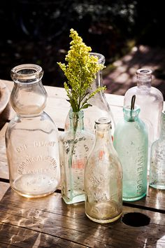 old glass bottles, can always upcycle! :]