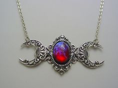 Art Nouveau Triple Moon Goddess Dragons Breath Mexican Opal Gemstone Sterling Silver Oxidized Finish Necklace