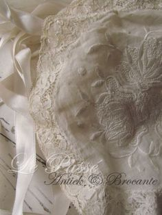 Beautiful Lace Edging and Satin Stitch Embroidery ~