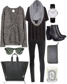 grey/black outfit