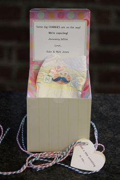 """""""BIG CHANGES!"""" Pregnancy Announcement, Pregnancy Reveal Gift Box, Surprise Baby Announcement for Grandparents/Aunts/Uncles, Baby diaper surprise box"""