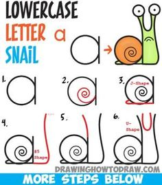 How to Draw Cartoon Snail from Lowercase Letter a - Easy Step by Step Drawing… by olga