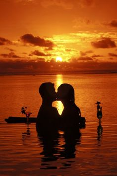 Romantic kiss at sunset (And how many times have we done that? I love when we do that)..