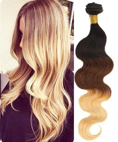 DE Local 3Bundles Ombre Body Wave Real Human Hair Extensions 14 -24  Grade 6A
