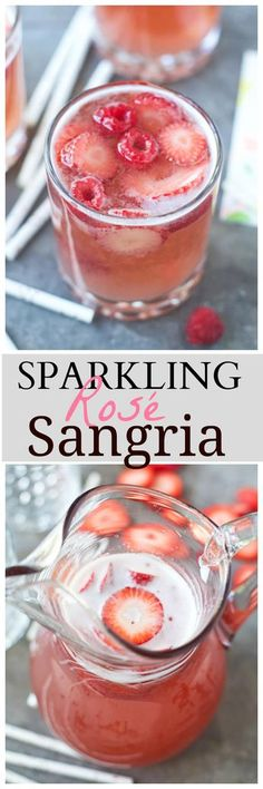 Sparkling Rosé Sangria - So light and refreshing! Sparkling Rosé Sangria is the only cocktail you'll want to drink all summer long. It's light and refreshing, effervescent, and perfect for a crowd! Fancy Drinks, Yummy Drinks, Healthy Drinks, Yummy Food, Tasty, Refreshing Drinks, Healthy Recipes, Alcohol Drink Recipes, Sangria Recipes