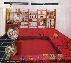 """""""Conversation Pit"""" circa 1970 .... instead of couches nowadays that face the TV"""